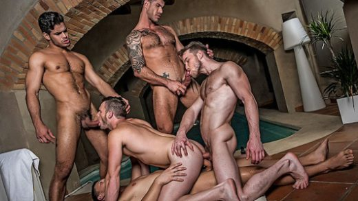Brian Bonds' Bareback Gang Bang with Rico Marlon, Adam Killian, Marq Daniels and Andrey Vic